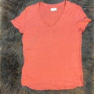 Lou & Grey  Peach V-Neck size S Linen Tee Shirt